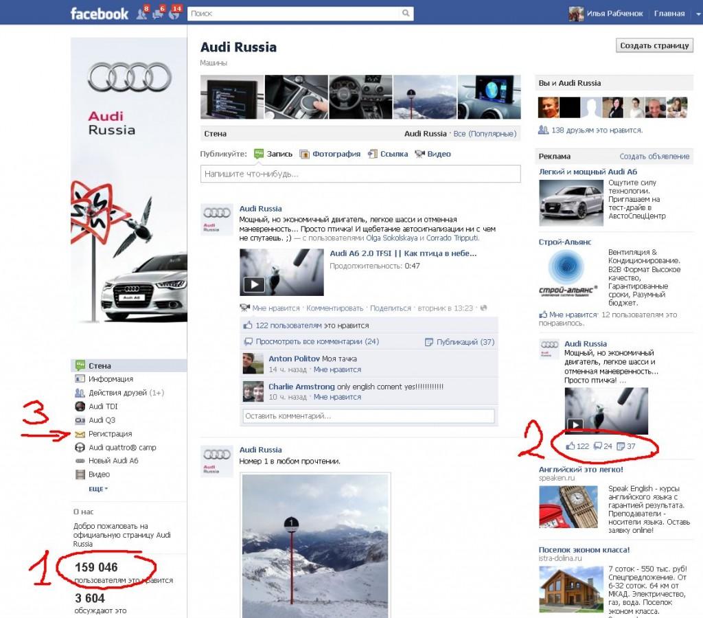 3 этапа на примере страницы Ауди Россия facebook.com/Audiru