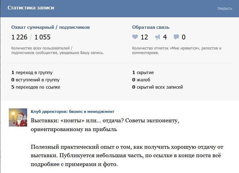 Сводная статистика по одному посту Вконтакте